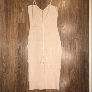 Dresses & Skirts - Sexy nude color bodycon midi dress SOLD